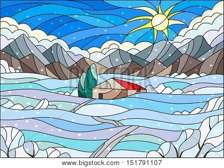 Illustration in stained glass style with abstract winter landscapea lonely house amid fields mountains sky and falling snow