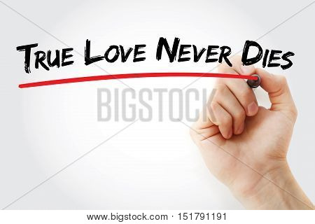 Hand Writing True Love Never Dies With Marker