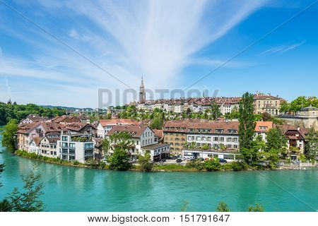 Bern Switzerland - May 26 2016: View of Bern old town over the Aare river - Switzerland.