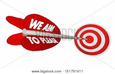 We Aim to Please Arrow Target Bulls Eye 3d Illustration