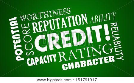 Credit Score Report Borrow Money Loan Word Collage 3d Illustration