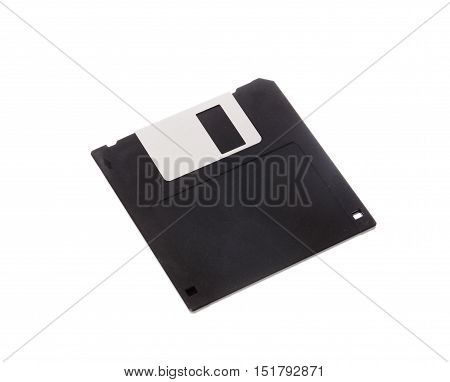 One 3.5 inch black diskette on white background.
