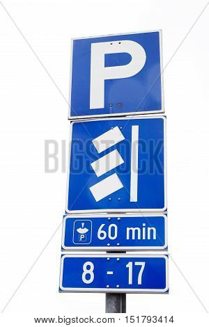 Finnish car parking road sign allowing parking for 60 minutes using parking disc.