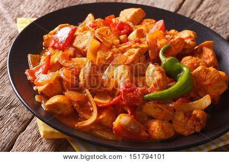 Spicy Chicken Jalfrezi With Pepper And Onion Close-up. Horizontal