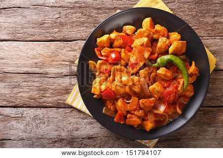 Indian Curry Chicken Jalfrezi With Spices, Tomato Sauce And Capsicums. Horizontal Top View