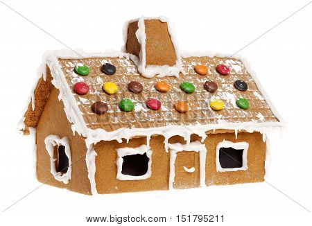 Gingerbread house isolated on a white background.