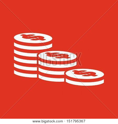 The stack of coins icon. Dollar, money, coin, bank  symbol. Flat Vector illustration