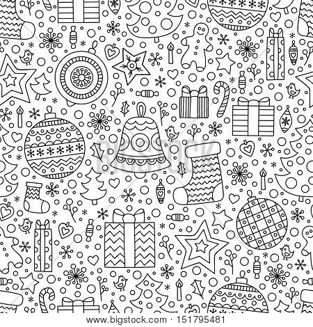 Christmas time. Vector seamless pattern with hand drawn doodle winter elements. Balls socks presents christmas tree stars candy gingerbread man bird candle heart berries snowflake. Outline. For anti stress coloring.