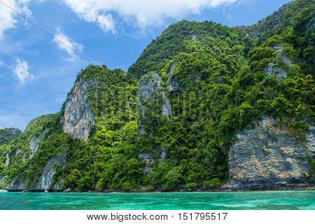 sea landscape with island and sky of andaman sea