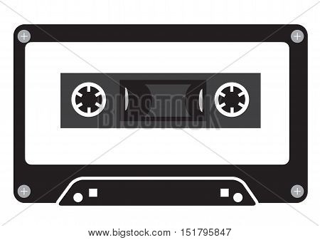 Audio tape cassette record flat design. Music tape vector icon. Cassette sign. Audio recording symbol.