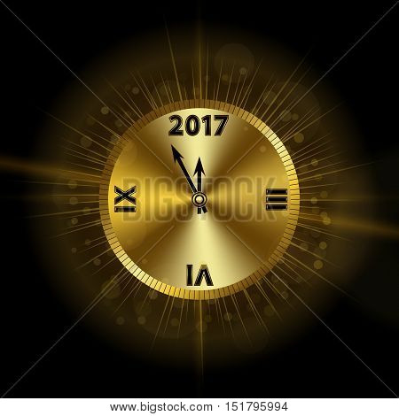 Gold Christmas magic clock background. Golden shiny design with sparkles and glitter. Decoration for card greeting. Symbol of Happy New Year 2017 holiday countdown. Vector illustration