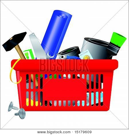 Vector icon of DIY shopping cart