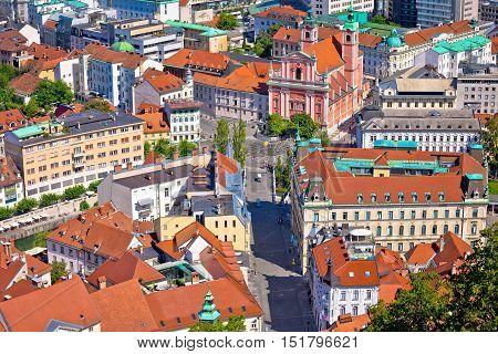 Aerial view of Tromostovje and Presern square in Ljubljana capital of Slovenia