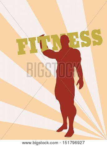 Muscular man holding fitness word. Vector silhouette. Bodybuilding relative image
