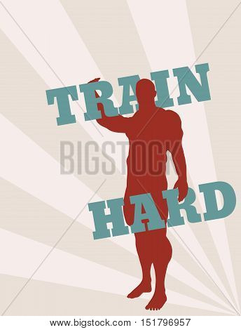 Muscular man holding train hard words. Vector silhouette. Bodybuilding relative image