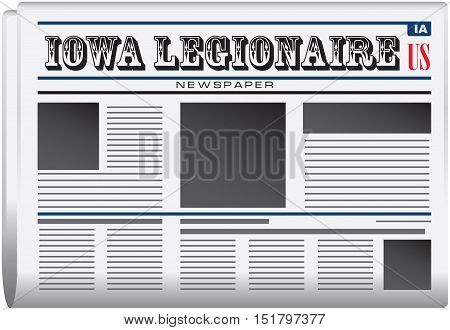 Newspaper for Iowa - newspaper Iowa Legionnaire. Vector illustration.