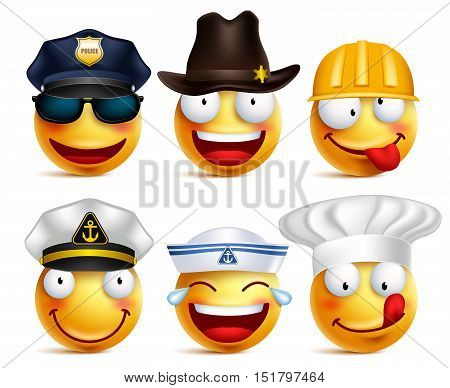 Smiley face vector set of professions with hats like police, seafarer, chef and construction worker isolated in white background. Vector illustration.