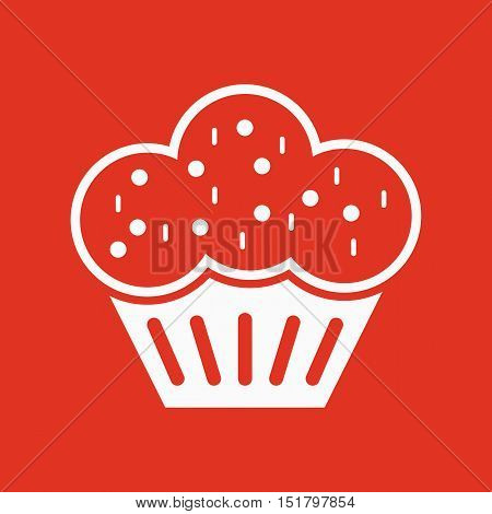 The muffin icon. Dessert and baked, cake, bakery symbol. Flat Vector illustration