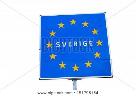 Swedish EU border road sign isolated on white with the member state name written in Swedish.