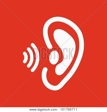 The ear icon. Sense organ and hear, understand symbol. Flat Vector illustration