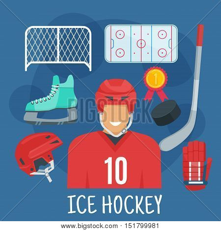 Ice hockey player in red uniform jersey and protective helmet flat symbol surrounded by stick, puck and glove, rink, skate, gate and golden medal. Winter sporting games theme or championship design