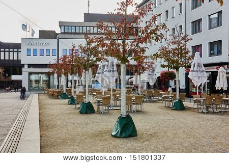 MOENCHENGLADBACH-RHEYDT, GERMANY - OCTOBER 13, 2016: Detail view on empty cafe and department store