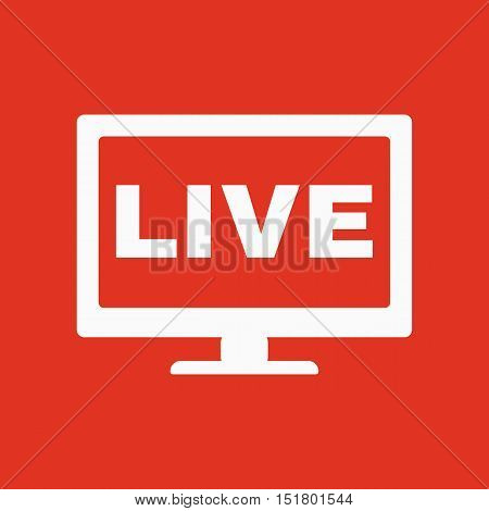 The live tv icon. Broadcasting and broadcast symbol. Flat Vector illustration