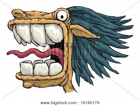 Gesichts-Ausdruck ein verrückt heftig bösartige beängstigend Monster mit großen Zähnen und weit geöffneten schreien M