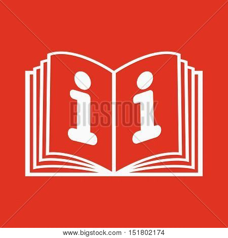 The open book icon. Manual and tutorial, instruction, encyclopedia symbol. Flat Vector illustration
