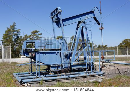 An obsolete oil pump at a formet oil well near the village of Rute in the Swedish province of Gotland