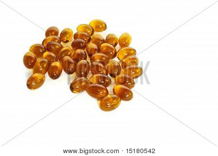 Brown Fish Oil Gel Capsule Pills Closeup