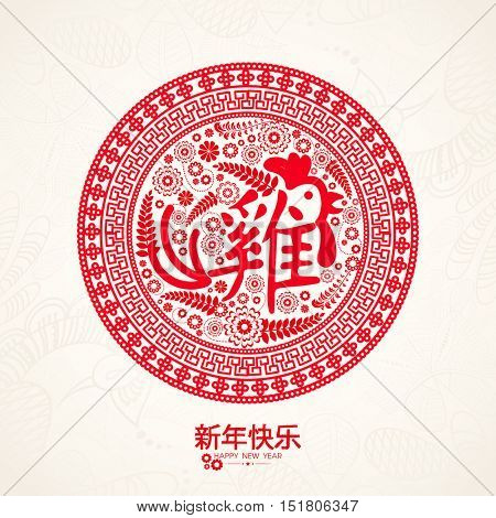 Chinese pattern decorated frame with Rooster Calligraphy for Happy New Year 2017 Celebration.