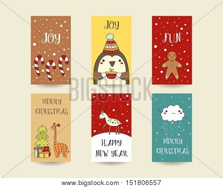 Cute hand drawn Christmas cards postcards with candy sticks penguin gingerbread man giraffe deer cloud snowflakes christmas tree. Christmas holiday background elements Printable tags set