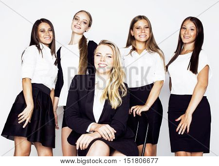 lot of businesswomen happy smiling celebrating success of team victory on work, dress code black and white official, lifestyle real working people concept