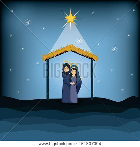 Jesus god and mary cartoon icon. Holy family and merry christmas season theme. Colorful design. Vector illustration