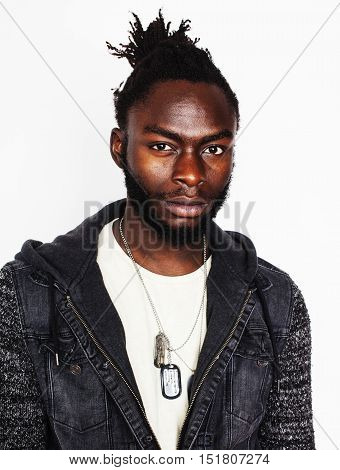 young handsome afro american man gesturing emotional posing isolated on white background, real angry military character, lifestyle people concept close up