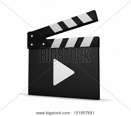 Movie and video clapperboard with play icon 3D illustration on white background.
