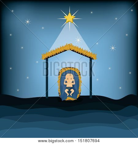 Baby jesus cartoon icon. Holy family and merry christmas season theme. Colorful design. Vector illustration