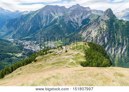 a view of ferret valley at aosta italy