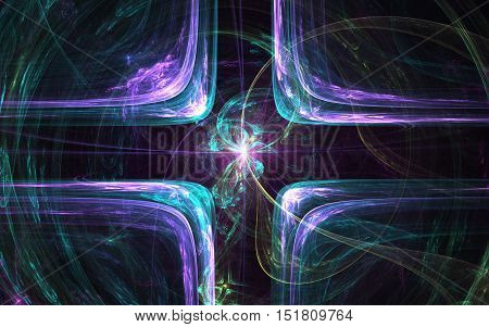 fractal absfractal abstract lines cross with the light within and intertwined with colored linestraction line