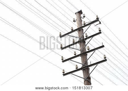 Close-up of a vintage telegraph line and telephone pole with a blank line.