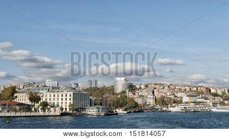 ISTANBUL, TURKEY, OCTOBER 14,2016: Coastline of Besiktas District of Istanbul, located on the European shore of the Bosphorus.