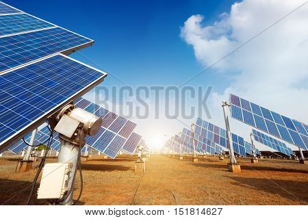 Built on outdoor blue solar cell reflectors