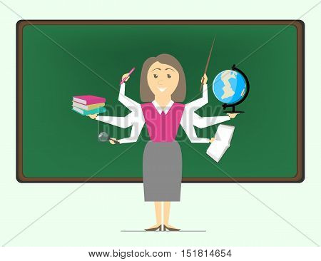 Multitasking is a school teacher women the teacher on various subjects. Vector