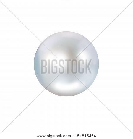 White single pearl with blue hue isolated on white