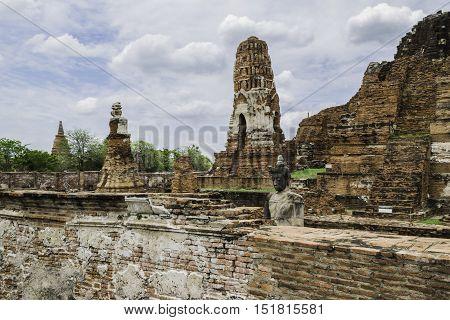 Old Beautiful Thai Temple wat Mahathat Ayutthaya Historical Park Ayutthaya Thailand