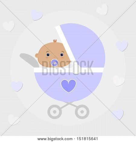 baby boy sitting in a baby carriage. Cute poster for congratulations. The template for the scrapbook. Baby vector illustration
