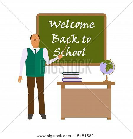 Back to school concept isolated on white background. Flat style illustration of male Teacher geography in audience class concept. Educator  shows by pointer the on the blackboard. Vector eps10