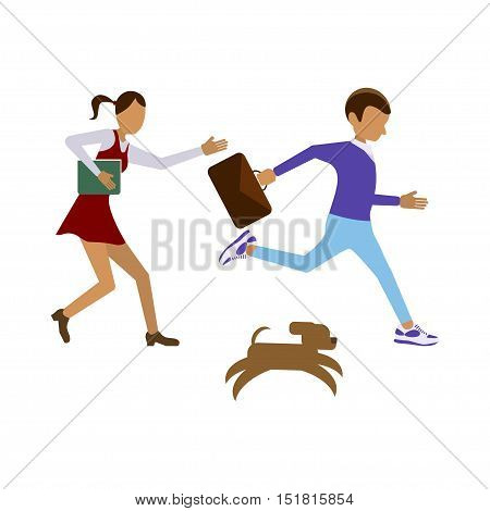 Back to school concept. Flat style vector isolated illustration of child student children boy and girl run to highschool. eps10