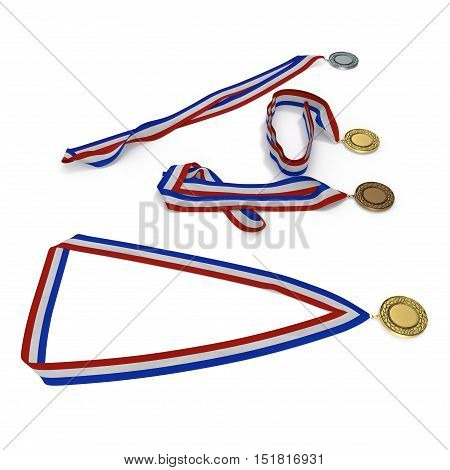 Metal medals collection with tricolor ribbon on white background. 3D illustration